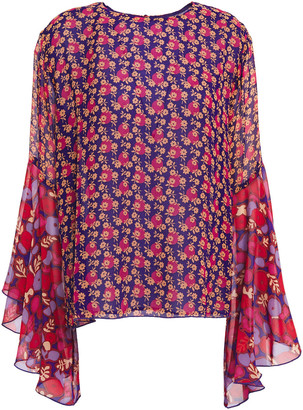 Anna Sui Ruffled Georgette-paneled Floral-print Silk-crepe Blouse