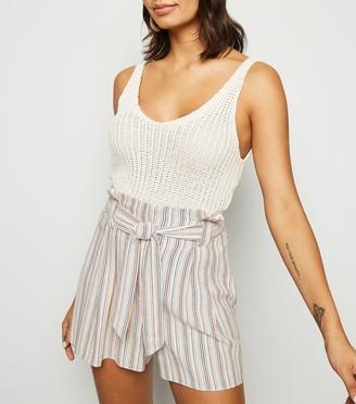 New Look Stripe Linen Look Paperbag Shorts