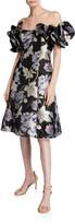 Aidan Mattox Off-the-Shoulder Floral Jacquard Ruffle-Sleeve Cocktail Dress