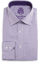 English Laundry Small-Check Woven Dress Shirt, Purple