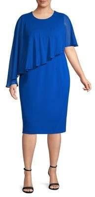 Calvin Klein Plus Asymmetrical Overlay Sheath Dress