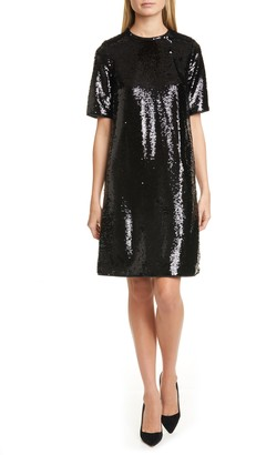 BOSS Dettia Short Sleeve Sequin Shift Dress