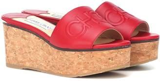 Jimmy Choo Deedee 80 leather wedge sandals