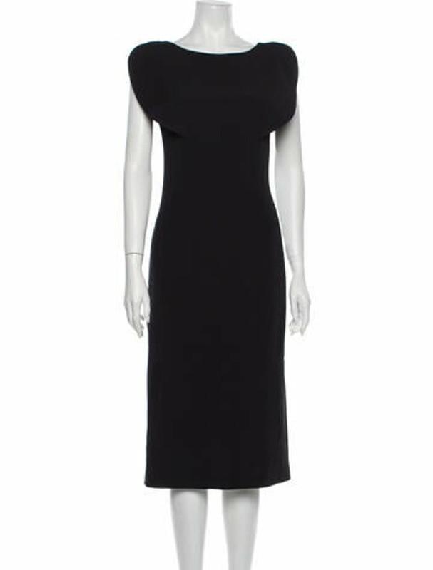 Osman Scoop Neck Midi Length Dress w/ Tags Black