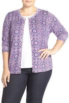 Sejour Print Cotton Blend Three-Quarter Sleeve Cardigan (Plus Size)