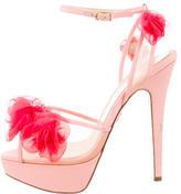 Charlotte Olympia Satin Embellished Platform Sandals