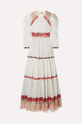 Ulla Johnson Salma Open-back Embroidered Macrame And Linen And Cotton-blend Gown - Off-white