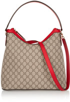 Gucci Linea A Hobo Leather-trimmed Coated-canvas Shoulder Bag - Sand