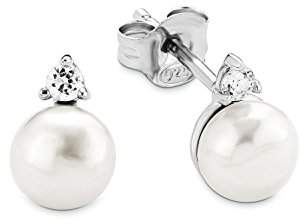 Amor Women's Earrings 925 Sterling Silver Rhodium-Plated Cubic Zirconia White Freshwater Cultured Pearl
