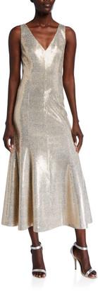 St. John Evening Paillette Shimmer V-Neck Dress