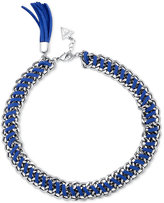 GUESS Silver-Tone Blue Faux Leather Tassel Chain Bracelet