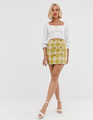 Love button front check skirt