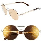 MCM Women's 54Mm Round Logo Sunglasses - Shiny Gold/ Bronze