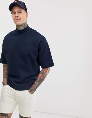 Asos Design DESIGN short sleeve oversized turtleneck sweatshirt in navy