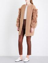 Drome Shearling-sleeve wool-blend coat