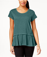 Style&Co. Style & Co. Layered-Look Peplum T-Shirt, Only at Macy's