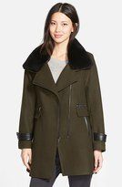 Trina Turk Women's 'Aubree' Wool Blend Coat With Detachable Genuine Shearling Trim