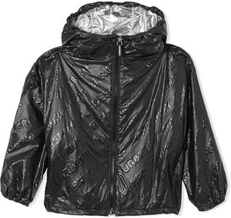 BURBERRY KIDS TEEN logo print lightweight hooded jacket