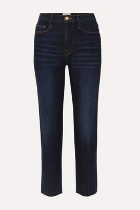 Frame Le Nouveau Frayed High-rise Straight-leg Jeans - Dark denim