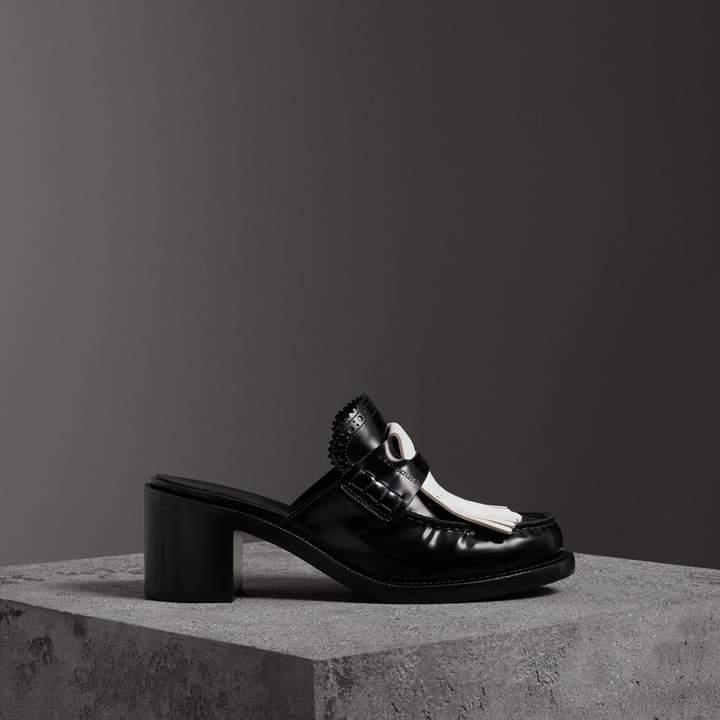 Burberry Contrast Kiltie Fringe Leather Block-heel Mules
