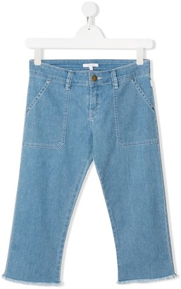 Chloé Kids TEEN frayed straight-leg jeans