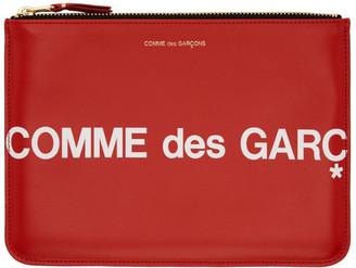 Comme des Garçons Wallets Red Large Huge Logo Pouch