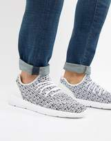 Pull&Bear Knitted Runner Sneaker In Black And White
