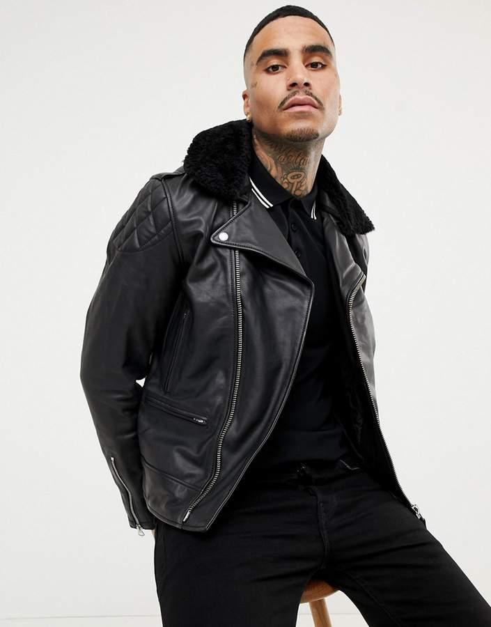 e4d98f385 LC Enfield 2 Leather Biker Jacket Detachable Faux Fur Collar Slim Fit in  Black