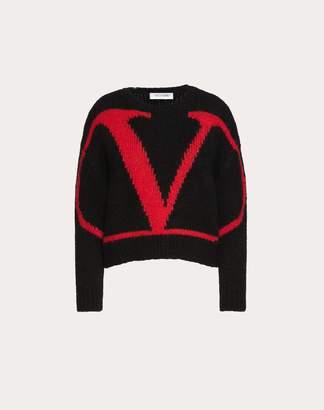 Valentino Vlogo Inlay Alpaca Jumper Women Black/ Red L