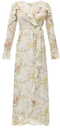 D'Ascoli Bedford-print Silk Crepe De Chine Dress - Yellow