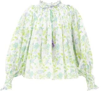 Thierry Colson Vladia Floral-print Cotton-voile Blouse - Green Blue Print