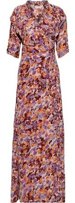 By Ti Mo Ruffle-trimmed Floral-print Crepe De Chine Maxi Wrap Dress