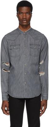 Balmain Black Embroidered Denim Shirt
