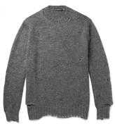 Alexander McQueen Distressed Mohair And Silk-blend Sweater - Gray
