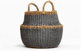 Fab Habitat Fez, Dark Round Belly Storage Basket With Handle
