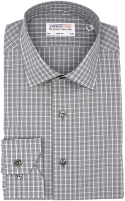 Lorenzo Uomo Box Check Print Trim Fit Dress Shirt