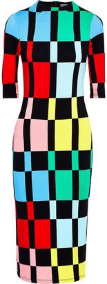 Alice + Olivia Delora Checked Stretch-jersey Midi Dress