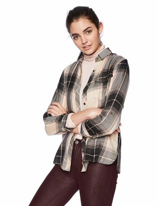 Angie Women's Plaid Button Front Tunic with Pocket
