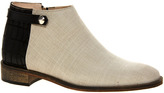 New Kid Penny Cinch Ecru Linen and Croc Ankle Boots