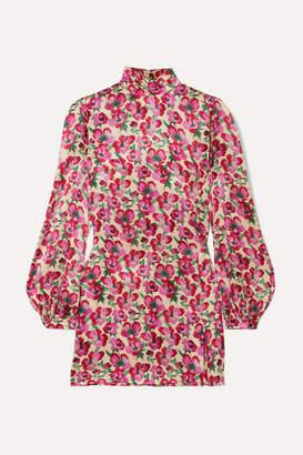 Raquel Diniz Elle Floral-print Silk-satin Mini Dress - Pink