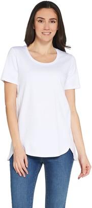Isaac Mizrahi Live! Essentials Pima Cotton Tunic with Tulip Hem