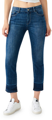 DL1961 Mara Ankle Mid-Rise Straight Jeans w/ Released Hem