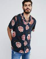 Asos Oversized Shirt In Vintage Floral Print With Revere Collar