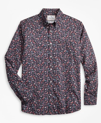 Brooks Brothers Luxury Collection Madison Classic-Fit Sport Shirt, Button-Down Collar Rose Print