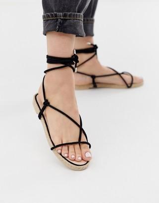 Simmi Shoes Simmi London Hira black toe loop espadrille sandals