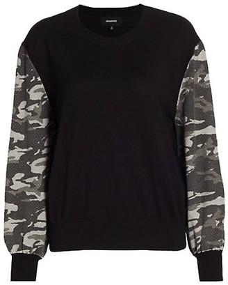 Monrow Camo Contrast-Sleeve Sweatshirt