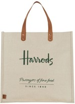 Harrods Embroidered Jute Grocery Shopper Bag