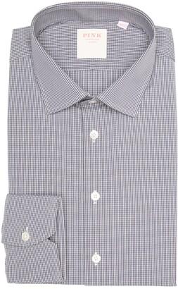 Thomas Pink Check Print Long Sleeve Athletic Fit Shirt
