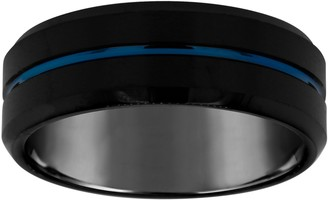 Men's Grooved 8mm Black & Blue Plated TungstenWedding Band