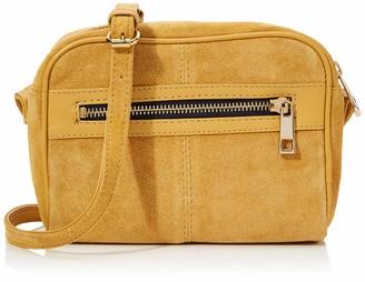 Dorothy Perkins Women's Leather Zip Front Camera Bag Cross-Body Bag Yellow (Ochre) 6x15x19 cm (W x H x L)